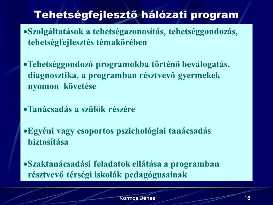 Kormos Dénes18 Tehetségfejlesztő hálózati program  Szolgáltatások a tehetségazonosítás, tehetséggondozás, tehetségfejlesztés témakörében  Tehetséggo