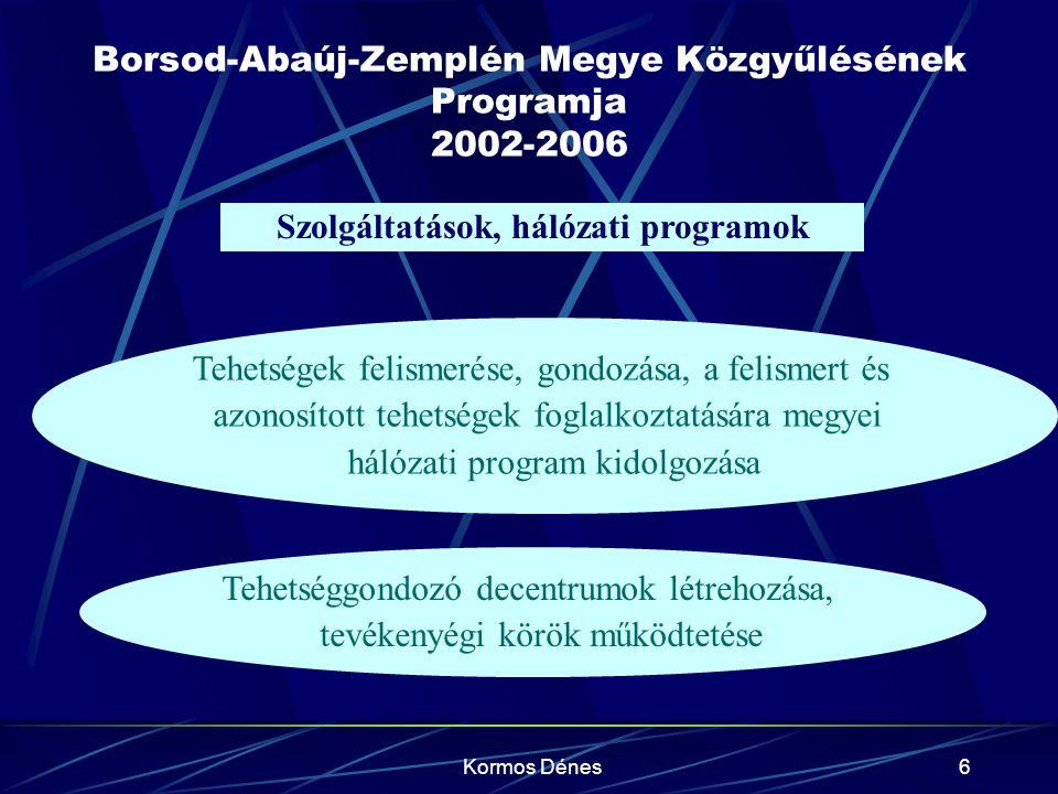 Kormos Dénes6 Borsod-Abaúj-Zemplén Megye Közgyűlésének Programja 2002-2006 Szolgáltatások, hálózati programok Tehetségek felismerése, gondozása, a fel
