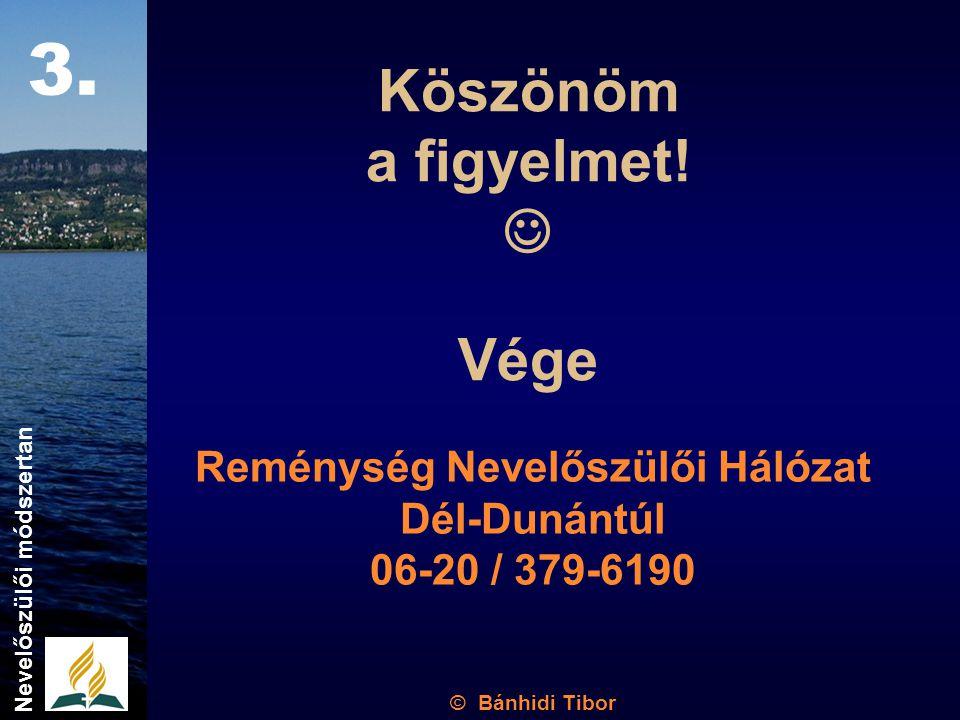 Köszönöm a figyelmet! Vége Reménység Nevelőszülői Hálózat Dél-Dunántúl 06-20 / 379-6190 Nevelőszülői módszertan 3. © Bánhidi Tibor