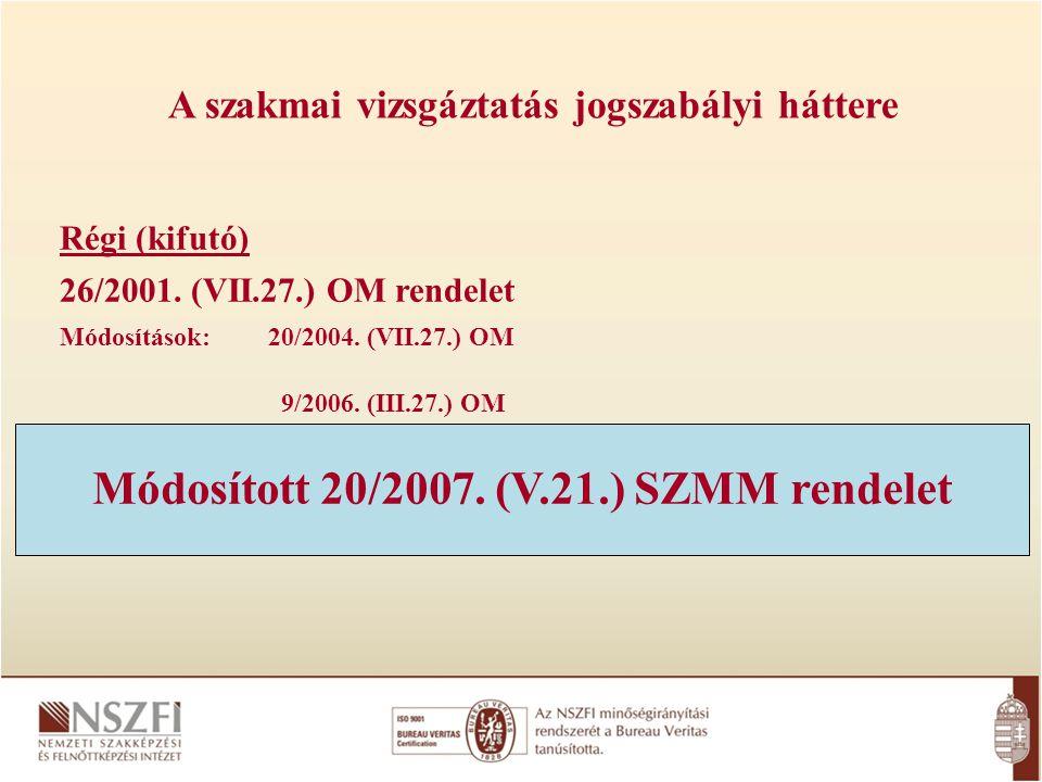 A szakmai vizsgáztatás jogszabályi háttere Régi (kifutó) 26/2001. (VII.27.) OM rendelet Módosítások: 20/2004. (VII.27.) OM 9/2006. (III.27.) OM Módosí