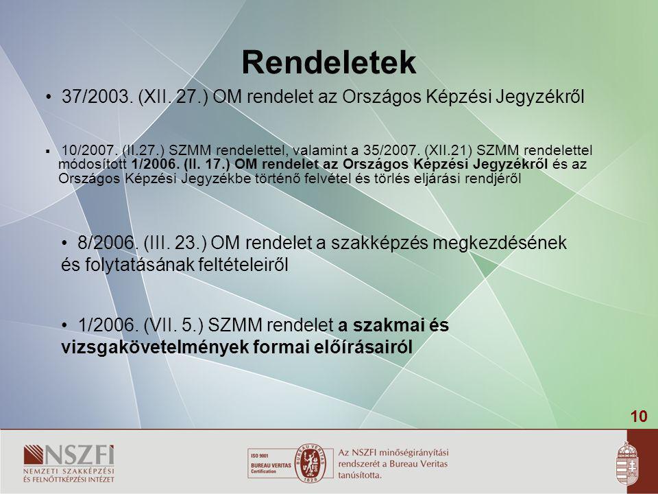 10 Rendeletek  10/2007. (II.27.) SZMM rendelettel, valamint a 35/2007. (XII.21) SZMM rendelettel módosított 1/2006. (II. 17.) OM rendelet az Országos
