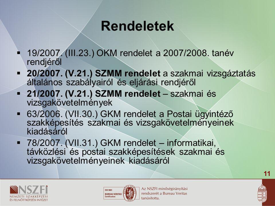 11 Rendeletek  19/2007. (III.23.) OKM rendelet a 2007/2008. tanév rendjéről  20/2007. (V.21.) SZMM rendelet a szakmai vizsgáztatás általános szabály