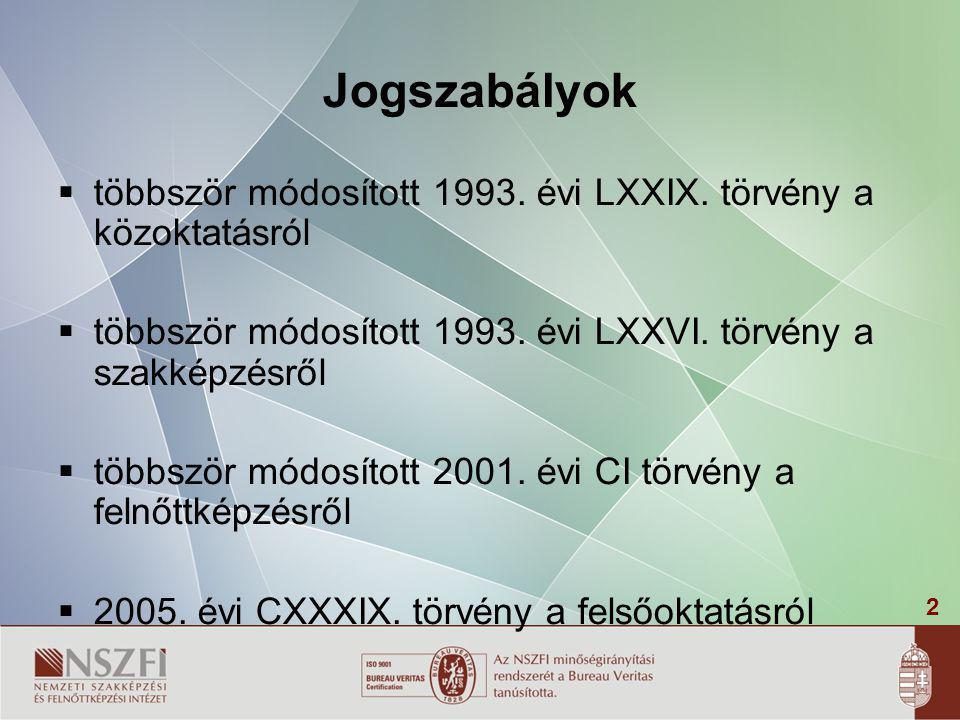 2 Jogszabályok  többször módosított 1993. évi LXXIX. törvény a közoktatásról  többször módosított 1993. évi LXXVI. törvény a szakképzésről  többszö