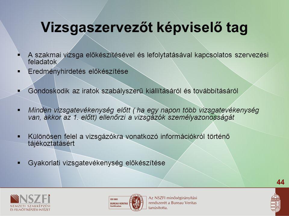 44 Vizsgaszervezőt képviselő tag  A szakmai vizsga előkészítésével és lefolytatásával kapcsolatos szervezési feladatok  Eredményhirdetés előkészítés