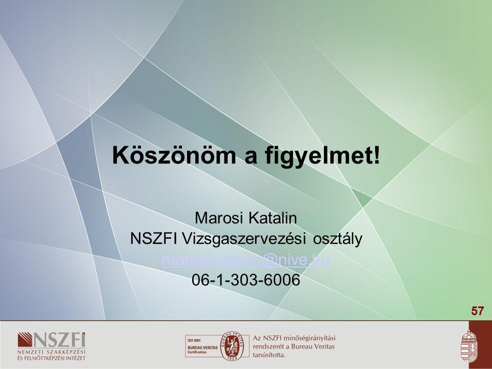 57 Köszönöm a figyelmet! Marosi Katalin NSZFI Vizsgaszervezési osztály marosi.katalin@nive.hu 06-1-303-6006