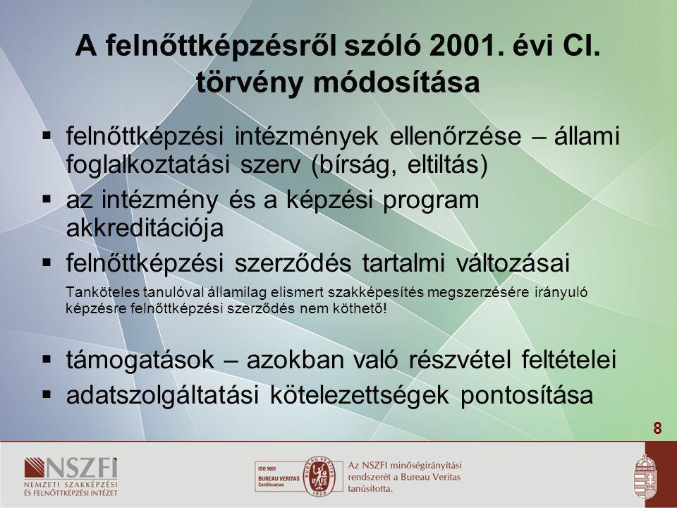 8 A felnőttképzésről szóló 2001. évi CI. törvény módosítása  felnőttképzési intézmények ellenőrzése – állami foglalkoztatási szerv (bírság, eltiltás)