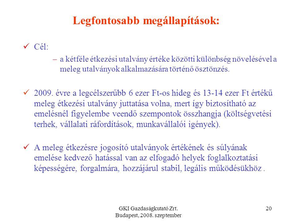 GKI Gazdaságkutató Zrt. Budapest, 2008. szeptember 19 Legfontosabb megállapítások: Hideg és melegétel utalvány a legelterjedtebb béren kívüli juttatás
