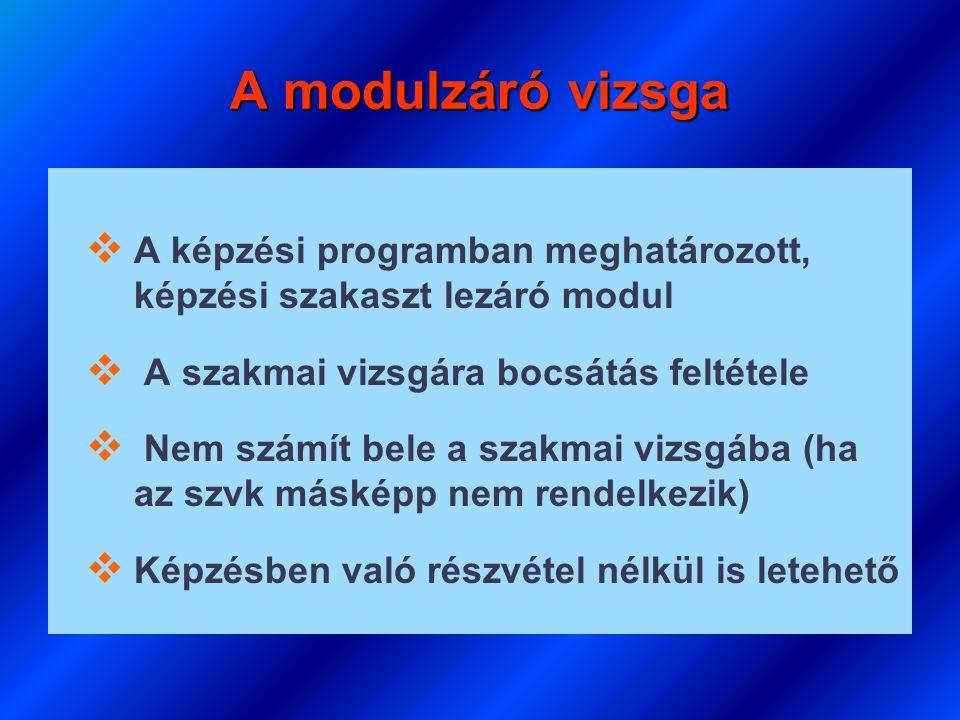 A modulzáró vizsga   A képzési programban meghatározott, képzési szakaszt lezáró modul   A szakmai vizsgára bocsátás feltétele   Nem számít bele