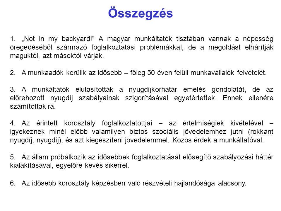 """Összegzés 1.""""Not in my backyard!"""" A magyar munkáltatók tisztában vannak a népesség öregedéséből származó foglalkoztatási problémákkal, de a megoldást"""