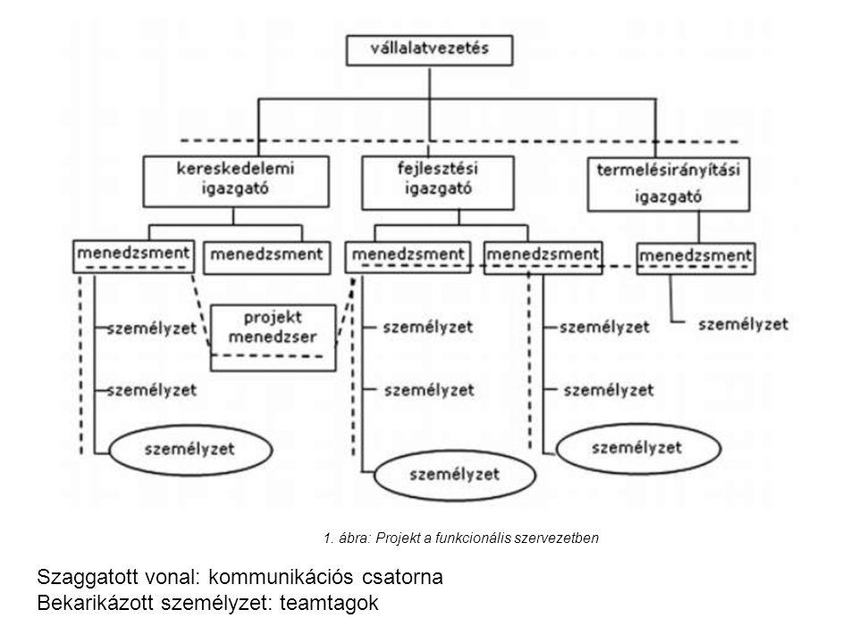 1. ábra: Projekt a funkcionális szervezetben Szaggatott vonal: kommunikációs csatorna Bekarikázott személyzet: teamtagok