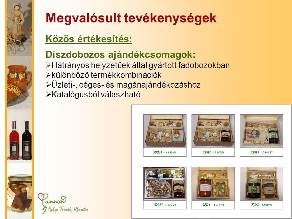 Megvalósult tevékenységek Közös értékesítés: Díszdobozos ajándékcsomagok:  Hátrányos helyzetűek által gyártott fadobozokban  különböző termékkombinációk  Üzleti-, céges- és magánajándékozáshoz  Katalógusból válaszható
