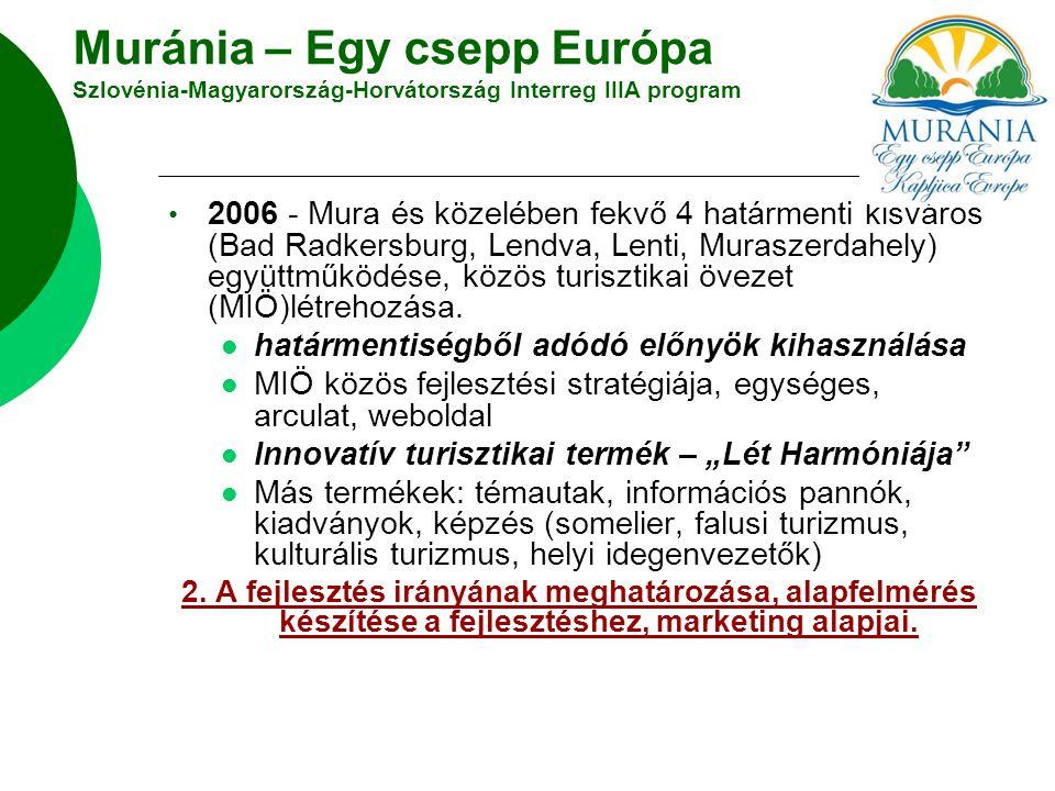 Muránia – Egy csepp Európa Szlovénia-Magyarország-Horvátország Interreg IIIA program 2006 - Mura és közelében fekvő 4 határmenti kisváros (Bad Radkersburg, Lendva, Lenti, Muraszerdahely) együttműködése, közös turisztikai övezet (MIÖ)létrehozása.
