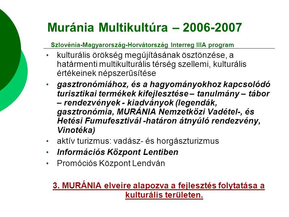 Muránia Multikultúra – 2006-2007 Szlovénia-Magyarország-Horvátország Interreg IIIA program kulturális örökség megújításának ösztönzése, a határmenti multikulturális térség szellemi, kulturális értékeinek népszerűsítése gasztronómiához, és a hagyományokhoz kapcsolódó turisztikai termékek kifejlesztése – tanulmány – tábor – rendezvények - kiadványok (legendák, gasztronómia, MURÁNIA Nemzetközi Vadétel-, és Hetési Fumufesztivál -határon átnyúló rendezvény, Vinotéka) aktív turizmus: vadász- és horgászturizmus Információs Központ Lentiben Promóciós Központ Lendván 3.