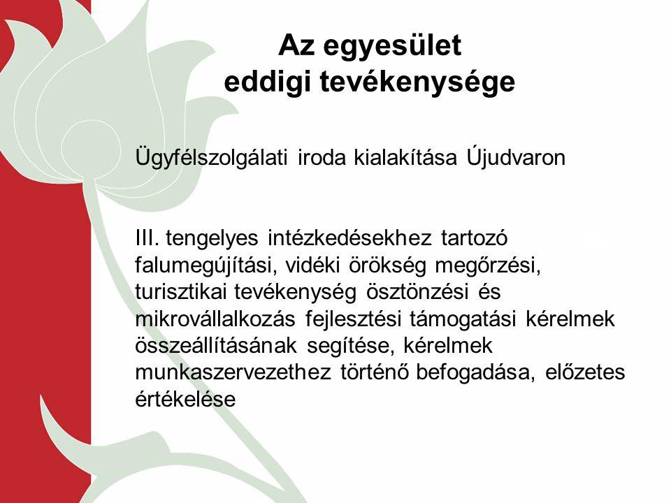 Az egyesület eddigi tevékenysége Ügyfélszolgálati iroda kialakítása Újudvaron III.