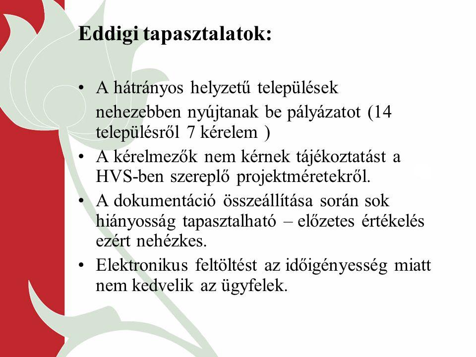 Eddigi tapasztalatok: A hátrányos helyzetű települések nehezebben nyújtanak be pályázatot (14 településről 7 kérelem ) A kérelmezők nem kérnek tájékoztatást a HVS-ben szereplő projektméretekről.