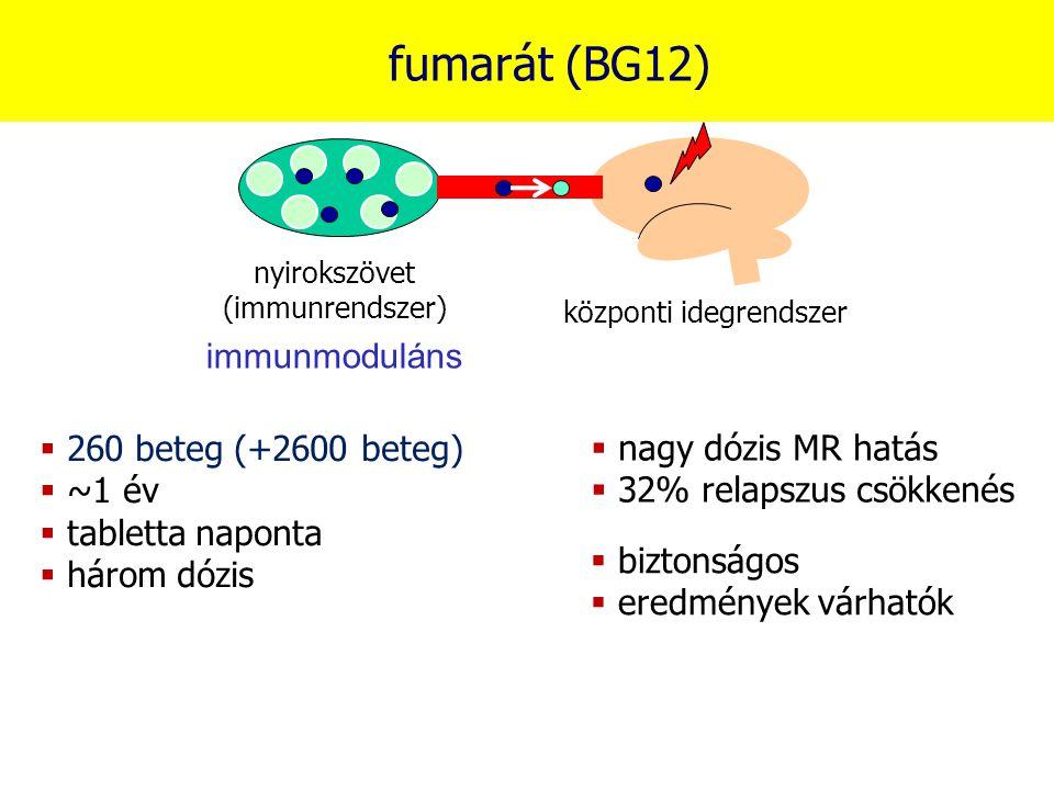 fumarát (BG12) nyirokszövet (immunrendszer) központi idegrendszer immunmoduláns  260 beteg (+2600 beteg)  ~1 év  tabletta naponta  három dózis  n