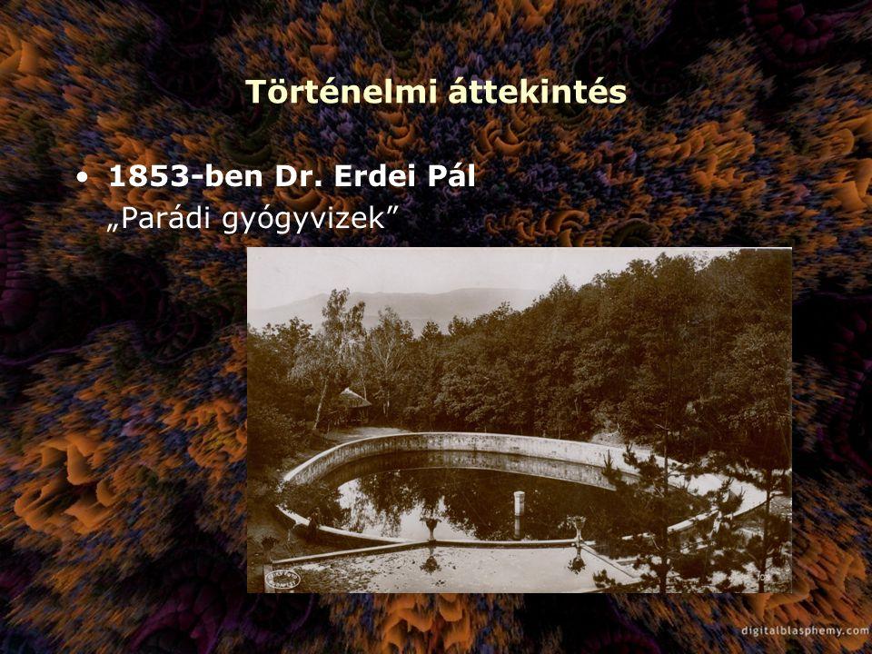 """Történelmi áttekintés 1853-ben Dr. Erdei Pál """"Parádi gyógyvizek"""""""
