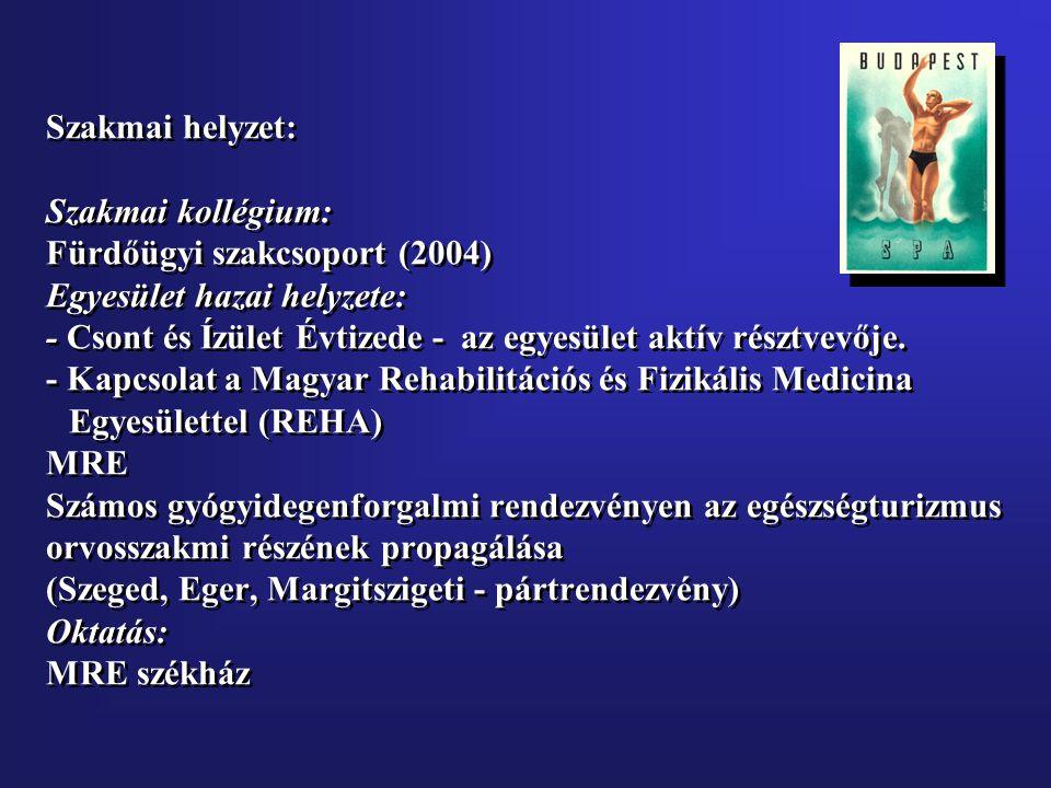 Szakmai helyzet: Szakmai kollégium: Fürdőügyi szakcsoport (2004) Egyesület hazai helyzete: - Csont és Ízület Évtizede - az egyesület aktív résztvevője.