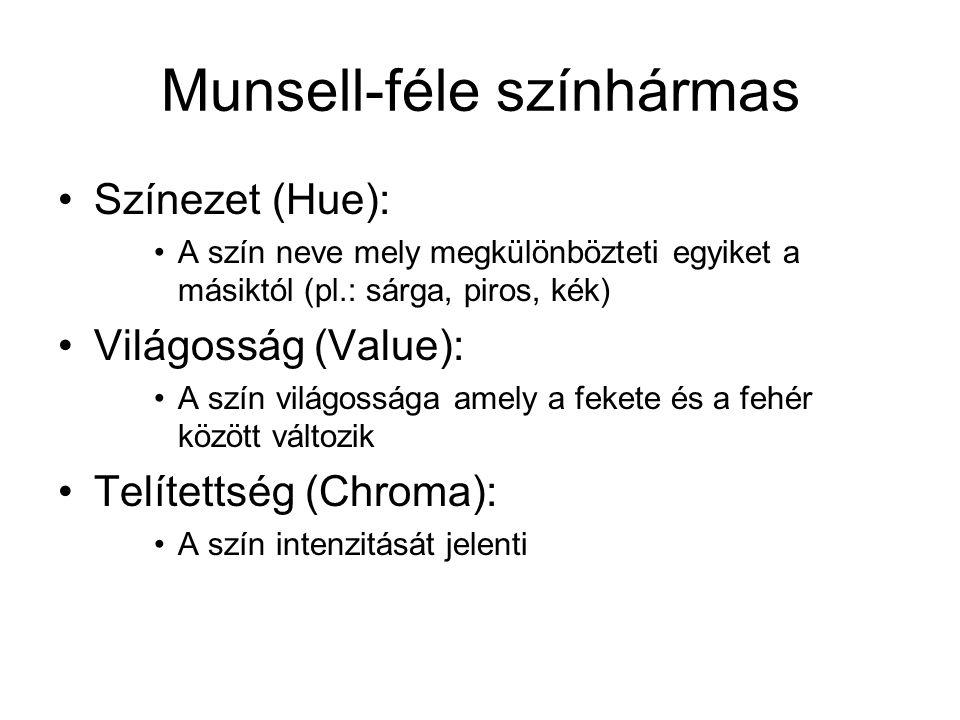 Munsell-féle színhármas Színezet (Hue): A szín neve mely megkülönbözteti egyiket a másiktól (pl.: sárga, piros, kék) Világosság (Value): A szín világo