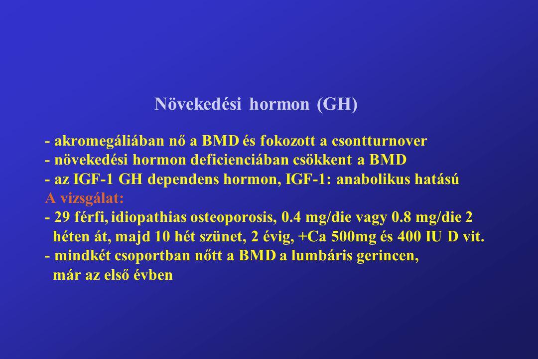 Növekedési hormon (GH) - akromegáliában nő a BMD és fokozott a csontturnover - növekedési hormon deficienciában csökkent a BMD - az IGF-1 GH dependens