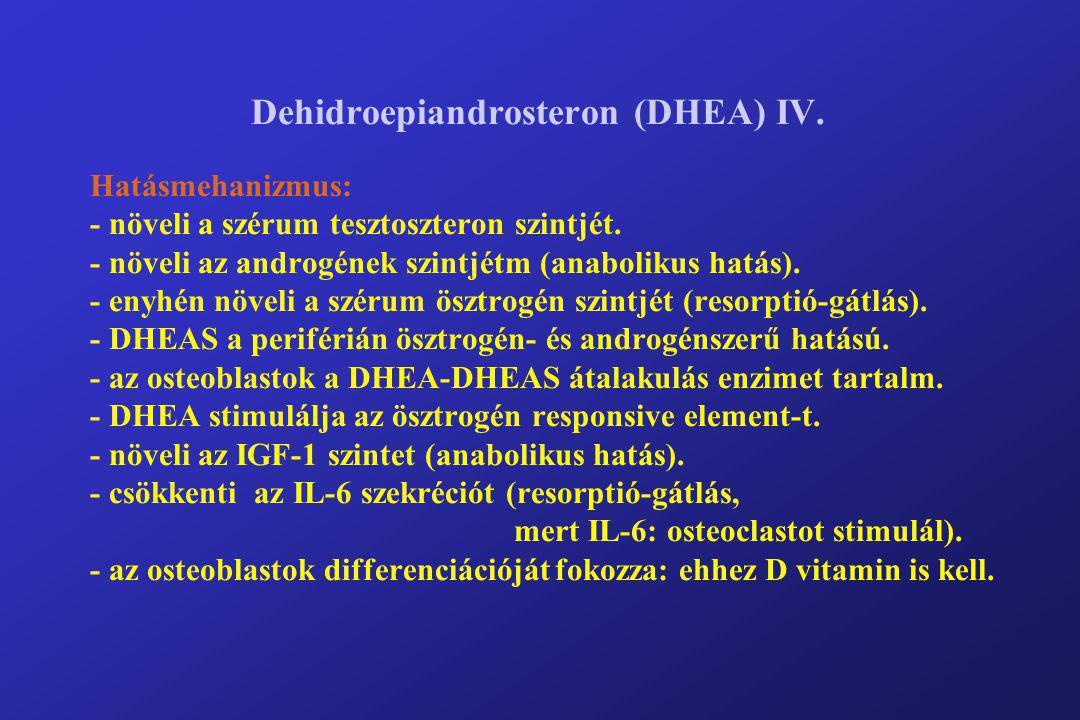 Dehidroepiandrosteron (DHEA) IV. Hatásmehanizmus: - növeli a szérum tesztoszteron szintjét. - növeli az androgének szintjétm (anabolikus hatás). - eny