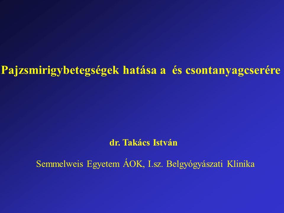 Pajzsmirigybetegségek hatása a és csontanyagcserére dr. Takács István Semmelweis Egyetem ÁOK, I.sz. Belgyógyászati Klinika