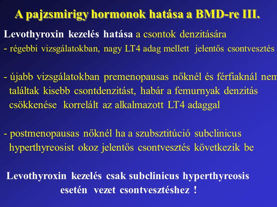A pajzsmirigy hormonok hatása a BMD-re III. Levothyroxin kezelés hatása a csontok denzitására - régebbi vizsgálatokban, nagy LT4 adag mellett jelentős