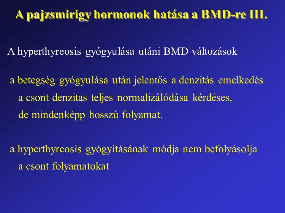 A pajzsmirigy hormonok hatása a BMD-re III. A hyperthyreosis gyógyulása utáni BMD változások a betegség gyógyulása után jelentős a denzitás emelkedés