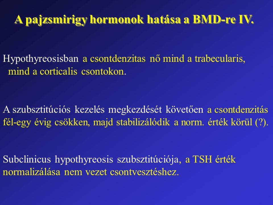 A pajzsmirigy hormonok hatása a BMD-re IV. Hypothyreosisban a csontdenzitas nő mind a trabecularis, mind a corticalis csontokon. A szubsztitúciós keze