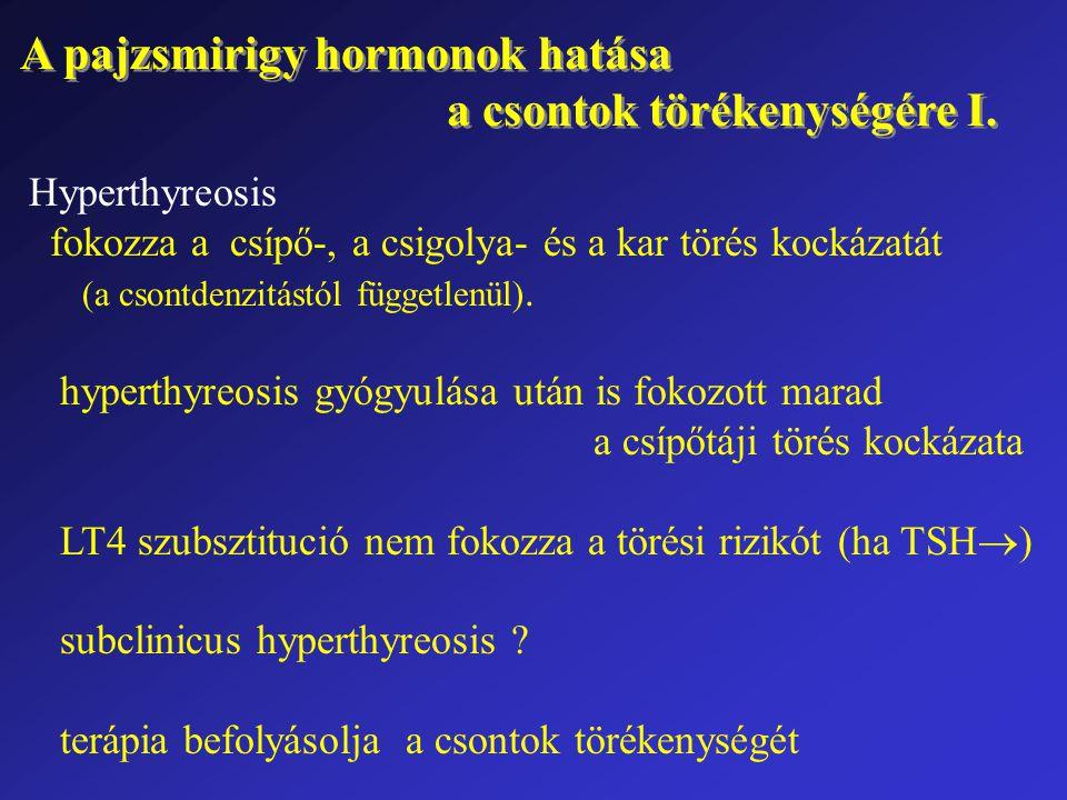 A pajzsmirigy hormonok hatása a csontok törékenységére I. A pajzsmirigy hormonok hatása a csontok törékenységére I. Hyperthyreosis fokozza a csípő-, a