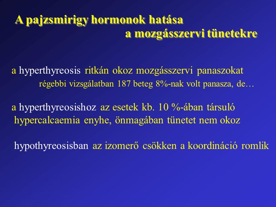A pajzsmirigy hormonok hatása a mozgásszervi tünetekre A pajzsmirigy hormonok hatása a mozgásszervi tünetekre a hyperthyreosis ritkán okoz mozgásszerv