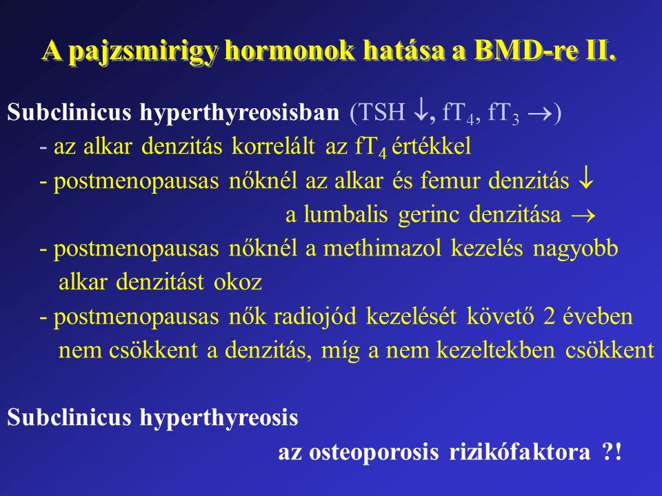Subclinicus hyperthyreosisban (TSH , fT 4, fT 3  ) - az alkar denzitás korrelált az fT 4 értékkel - postmenopausas nőknél az alkar és femur denzitás  a lumbalis gerinc denzitása  - postmenopausas nőknél a methimazol kezelés nagyobb alkar denzitást okoz - postmenopausas nők radiojód kezelését követő 2 éveben nem csökkent a denzitás, míg a nem kezeltekben csökkent Subclinicus hyperthyreosis az osteoporosis rizikófaktora ?.