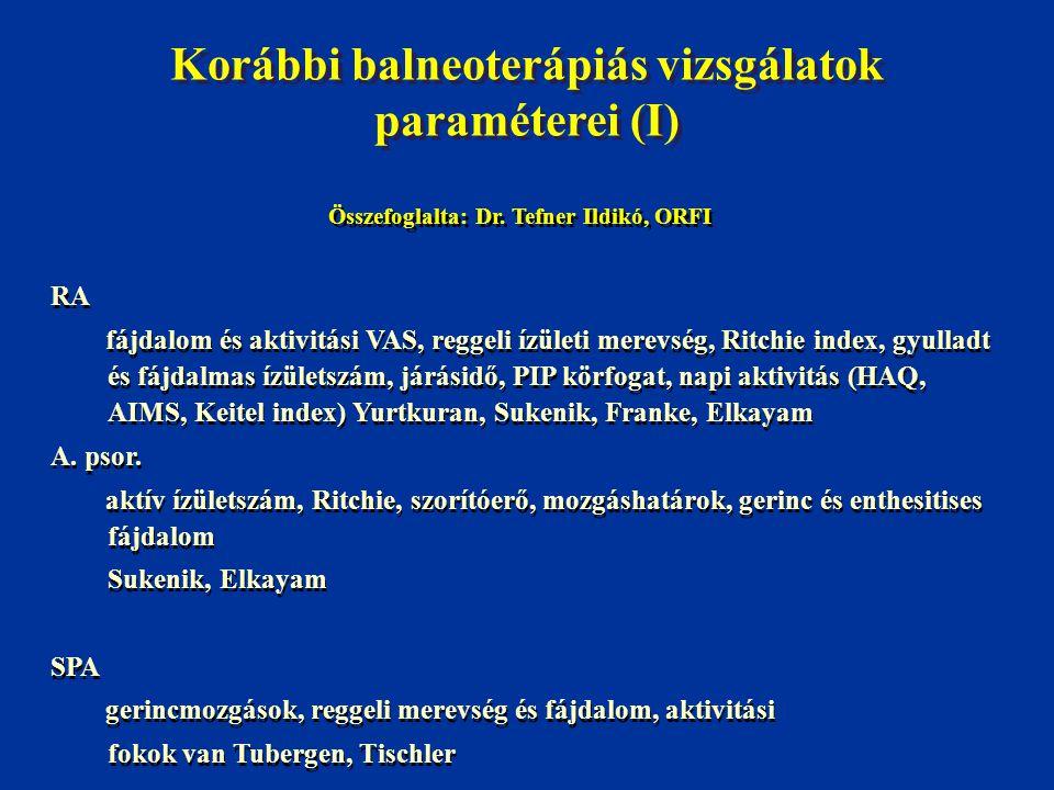 Korábbi balneoterápiás vizsgálatok paraméterei (II) OA fájdalom, súlyosság fokozatok, mozgások, Lequesne index, járástávolság, lépcsőnjárás, funkcionális állapot (AIMS, Duke Health Profile) Derékfájás fájdalom, Laségue, mozgáshatárok, gyógyszerigény, funkció (Roland+Morris, Duke Health Profile) Fibromyalgia fájdalom, fáradtság, szorongás, alvászavar (VAS) tender pontok (dolorimetria) HAQ, FDI, SF-36, AIMS, FIQ, Beck DI Yurtkuran, Ercik, Neumann, Buskila OA fájdalom, súlyosság fokozatok, mozgások, Lequesne index, járástávolság, lépcsőnjárás, funkcionális állapot (AIMS, Duke Health Profile) Derékfájás fájdalom, Laségue, mozgáshatárok, gyógyszerigény, funkció (Roland+Morris, Duke Health Profile) Fibromyalgia fájdalom, fáradtság, szorongás, alvászavar (VAS) tender pontok (dolorimetria) HAQ, FDI, SF-36, AIMS, FIQ, Beck DI Yurtkuran, Ercik, Neumann, Buskila