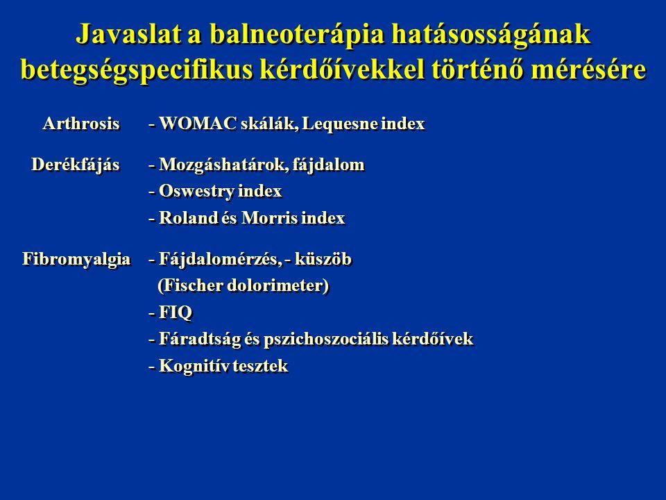 Javaslat a balneoterápia hatásosságának betegségspecifikus kérdőívekkel történő mérésére Arthrosis- WOMAC skálák, Lequesne index Derékfájás- Mozgáshat