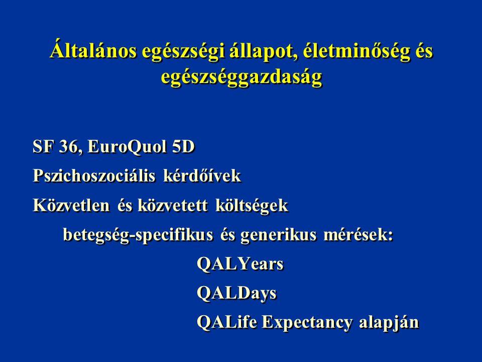 Általános egészségi állapot, életminőség és egészséggazdaság SF 36, EuroQuol 5D Pszichoszociális kérdőívek Közvetlen és közvetett költségek betegség-s