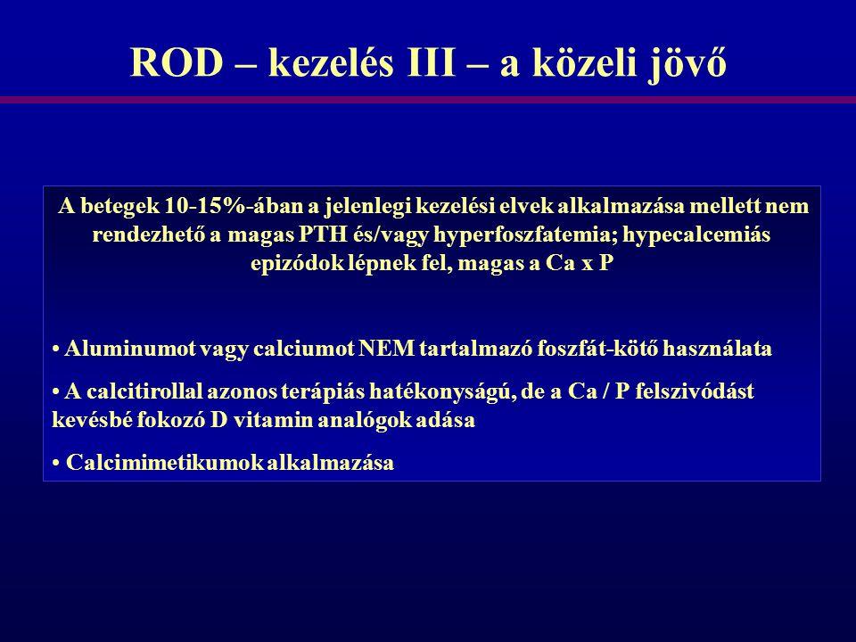 ROD – kezelés III – a közeli jövő A betegek 10-15%-ában a jelenlegi kezelési elvek alkalmazása mellett nem rendezhető a magas PTH és/vagy hyperfoszfat