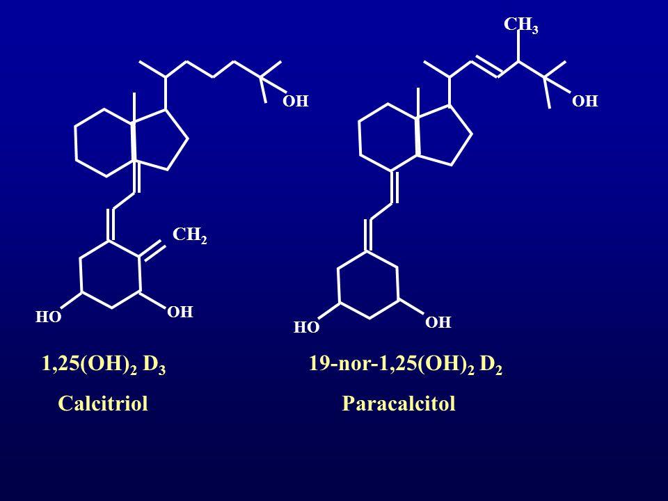 CH 2 OH HO OH CH 3 OH HO 1,25(OH) 2 D 3 19-nor-1,25(OH) 2 D 2 Calcitriol Paracalcitol