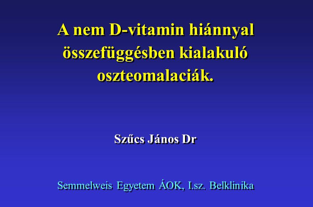 A D vitamin hiányában kialakuló betegségeket gyermekkorban angolkórnak (rickets), felnőttkorban csontlágyulásnak (osteomalacia) nevezzük.