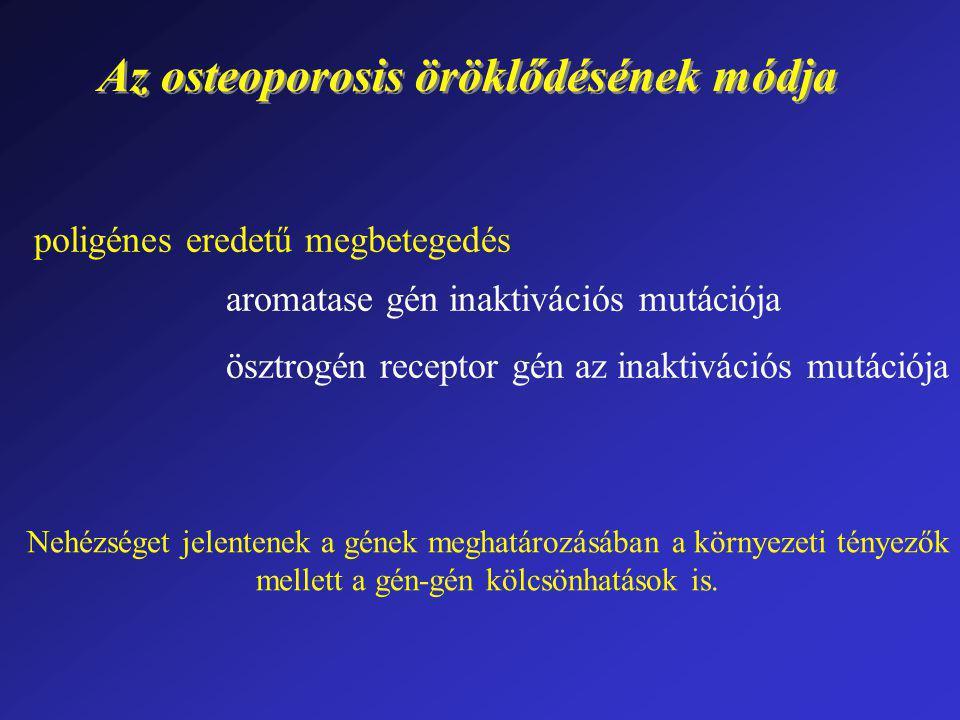 Az osteoporosis öröklődésének módja poligénes eredetű megbetegedés aromatase gén inaktivációs mutációja ösztrogén receptor gén az inaktivációs mutáció