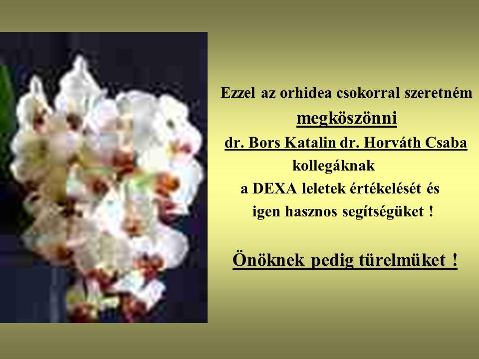 Ezzel az orhidea csokorral szeretném megköszönni dr. Bors Katalin dr. Horváth Csaba kollegáknak a DEXA leletek értékelését és igen hasznos segítségüke