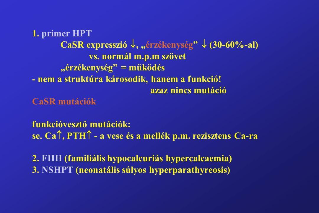 """1. primer HPT CaSR expresszió , """"érzékenység  (30-60%-al) vs."""
