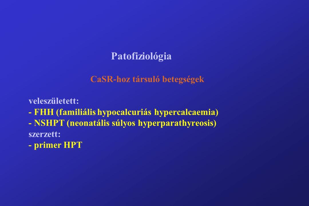 Patofiziológia CaSR-hoz társuló betegségek veleszületett: - FHH (familiális hypocalcuriás hypercalcaemia) - NSHPT (neonatális súlyos hyperparathyreosis) szerzett: - primer HPT