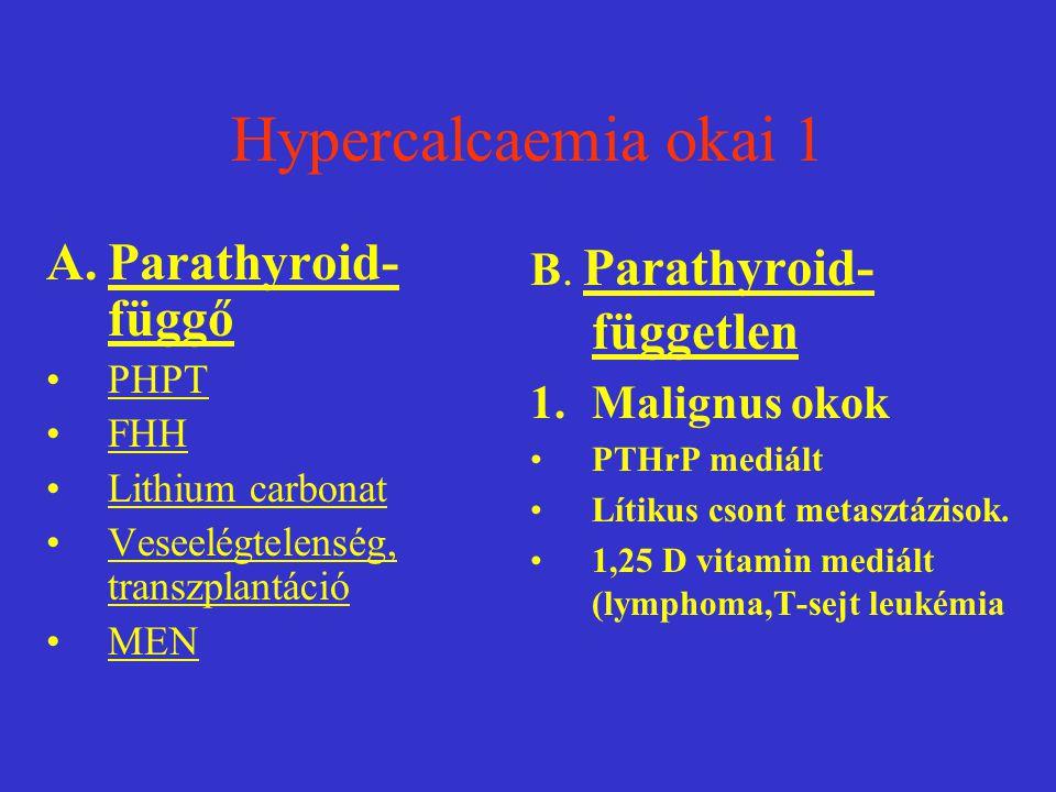 Hypercalcaemia okai 1 A.Parathyroid- függő PHPT FHH Lithium carbonat Veseelégtelenség, transzplantáció MEN B. Parathyroid- független 1.Malignus okok P