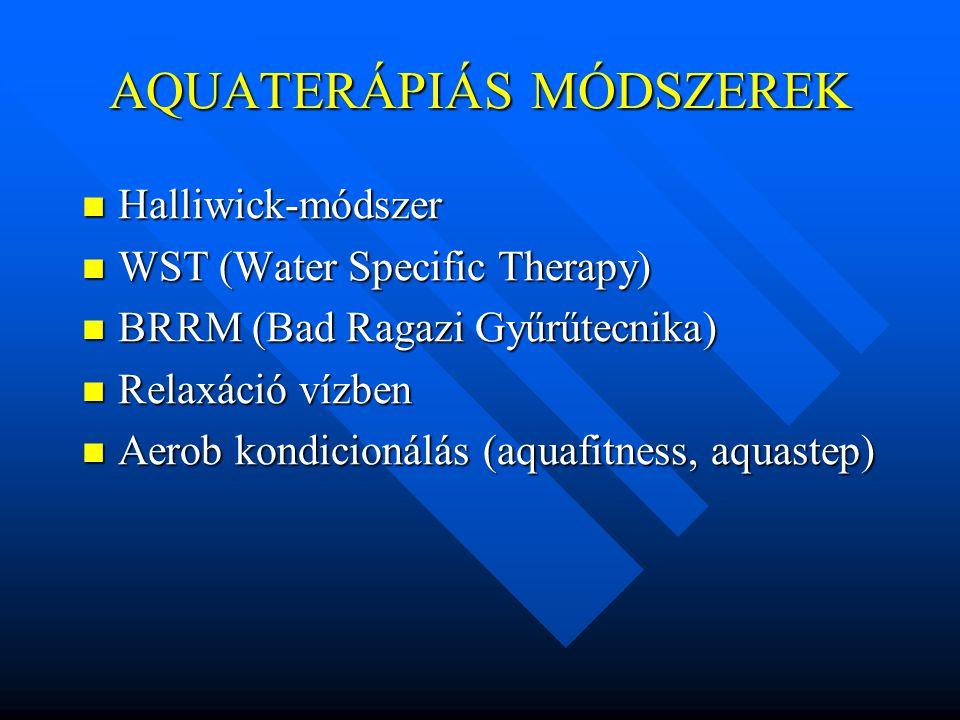 AQUATERÁPIÁS MÓDSZEREK Halliwick-módszer Halliwick-módszer WST (Water Specific Therapy) WST (Water Specific Therapy) BRRM (Bad Ragazi Gyűrűtecnika) BR