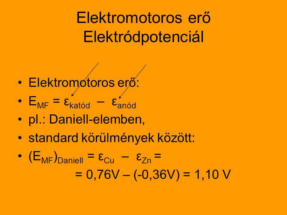 Elektromotoros erő Elektródpotenciál Elektromotoros erő: E MF = ε katód – ε anód pl.: Daniell-elemben, standard körülmények között: (E MF ) Daniell =