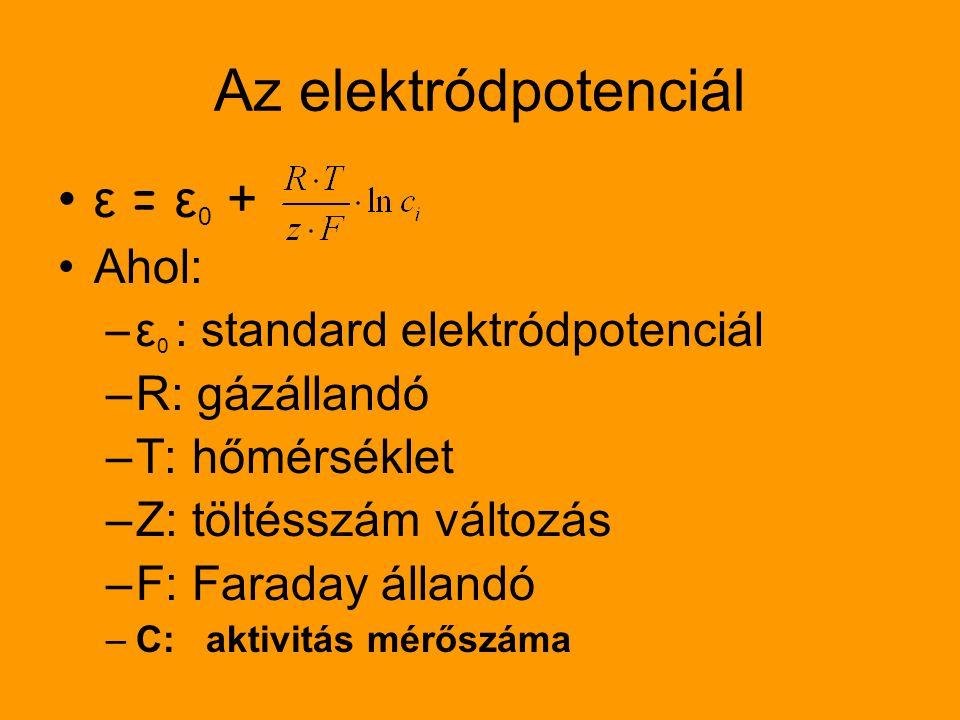 Az elektródpotenciál ε = ε 0 + Ahol: –ε 0 : standard elektródpotenciál –R: gázállandó –T: hőmérséklet –Z: töltésszám változás –F: Faraday állandó –C: