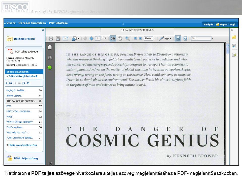 A fenti menüsorban lévő linkekkel visszatérhet a találati listához, finomíthatja a keresést, vagy letöltheti a PDF-et.