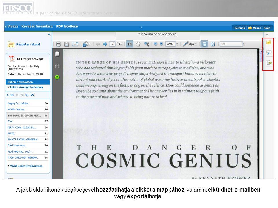 A jobb oldali ikonok segítségével hozzáadhatja a cikket a mappához, valamint elküldheti e-mailben vagy exportálhatja.