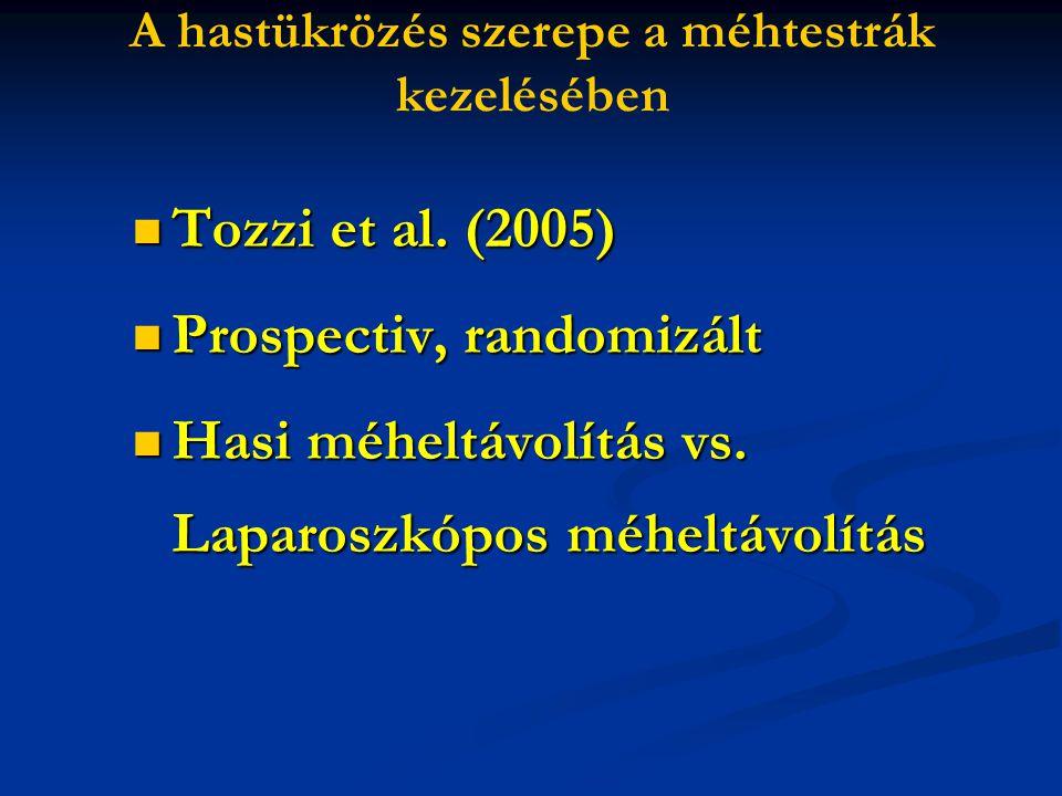 Tozzi et al. (2005) Tozzi et al. (2005) Prospectiv, randomizált Prospectiv, randomizált Hasi méheltávolítás vs. Laparoszkópos méheltávolítás Hasi méhe