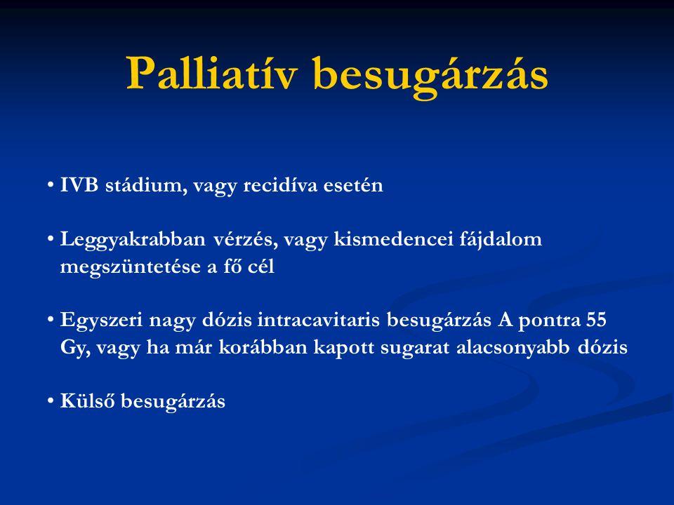 Palliatív besugárzás IVB stádium, vagy recidíva esetén Leggyakrabban vérzés, vagy kismedencei fájdalom megszüntetése a fő cél Egyszeri nagy dózis intr